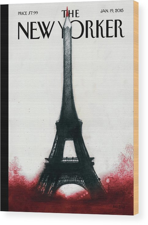 Charlie Hebdo Wood Print featuring the painting Solidarite by Ana Juan