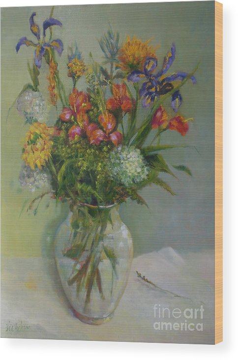 Spring Flowers Wood Print featuring the painting Spring Bouquet in Glass     copyrighted by Kathleen Hoekstra