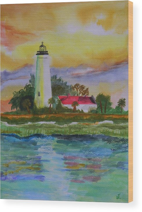 Landscape Wood Print featuring the painting ST. Marks Lighthouse-2 by Warren Thompson
