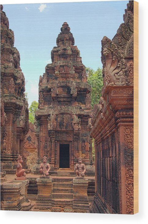 Cambodian Culture Wood Print featuring the photograph Temple by William Childress
