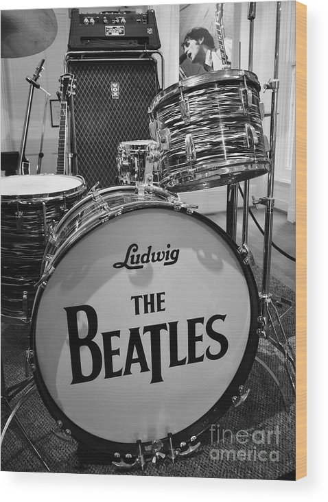 The Beatles Wood Print featuring the photograph The Beat Goes On by Mel Steinhauer