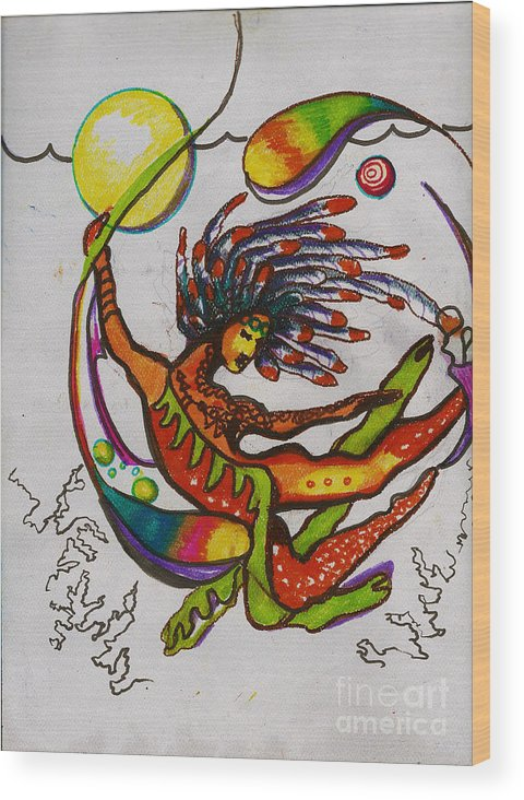Kundalini Wood Print featuring the painting The Goddess of Elements by Donna Chaasadah