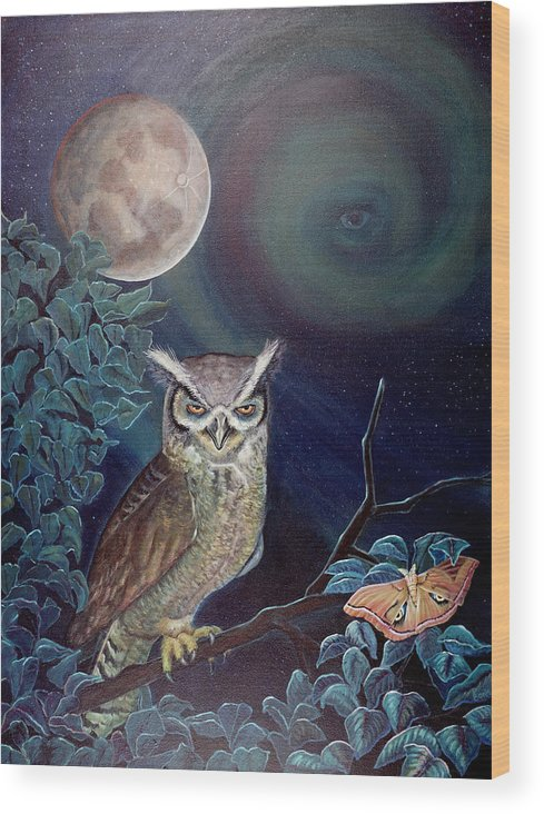Wildlife Wood Print featuring the painting The Spirit Of The Night by Peter Bonk
