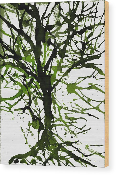 Abstract Wood Print featuring the digital art The Tree Is Green by Joseph Ferguson