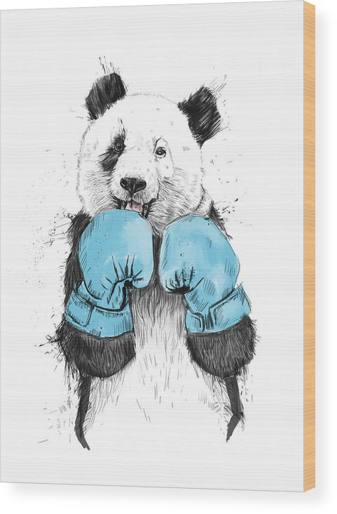 Panda Wood Print featuring the drawing The Winner by Balazs Solti