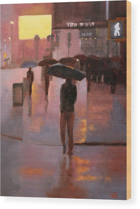 Cityscapes Wood Print featuring the painting Times Square rain by Tate Hamilton