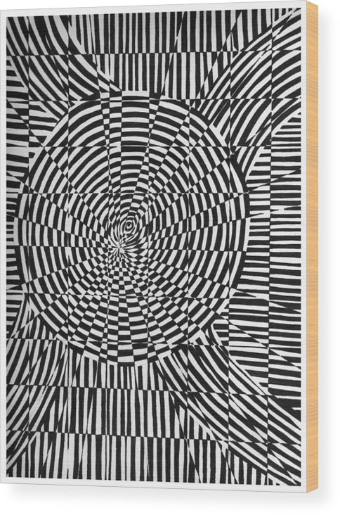 Abstract Wood Print featuring the drawing Unraveled by Crystal Hubbard