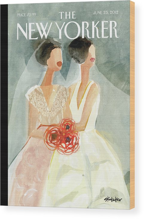 June Brides Wood Print featuring the painting June Brides by Gayle Kabaker