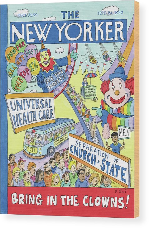 Politics Wood Print featuring the painting Bring In The Clowns by Roz Chast