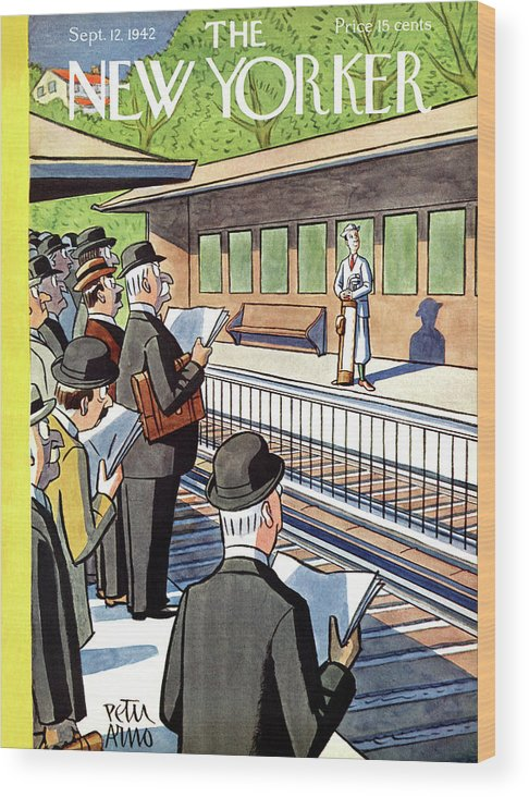 Train Wood Print featuring the painting New Yorker September 12, 1942 by Peter Arno