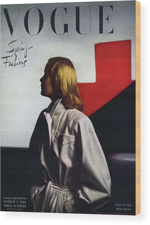 Fashion Wood Print featuring the photograph Vogue Cover Featuring A Model Wearing A White by Horst P. Horst