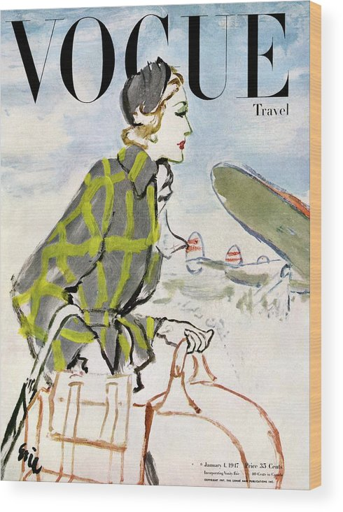 Illustration Wood Print featuring the photograph Vogue Cover Featuring A Woman Carrying Luggage by Carl Oscar August Erickson