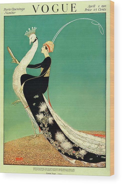 Illustration Wood Print featuring the photograph Vogue Cover Featuring A Woman Sitting On A Giant by George Wolfe Plank