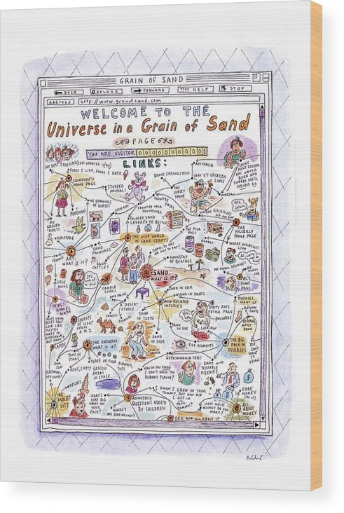 Sand Wood Print featuring the drawing 'welcome To The Universe In A Grain Of Sand' by Roz Chast