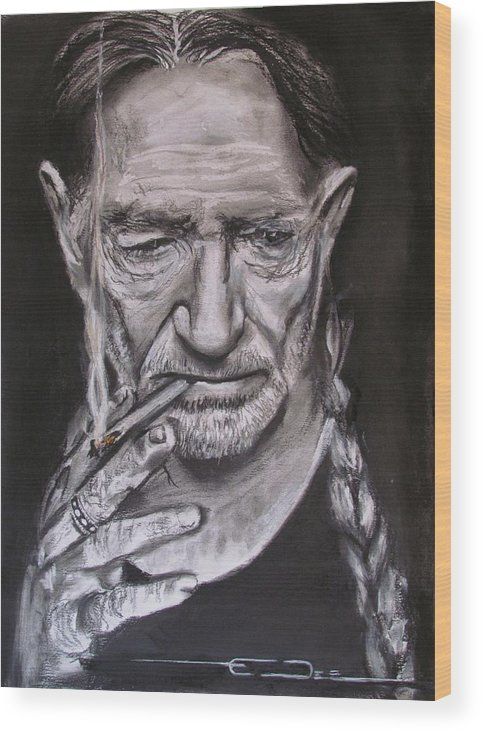 Willlie Nelson Wood Print featuring the drawing Willie Nelson - Doobie Brother by Eric Dee
