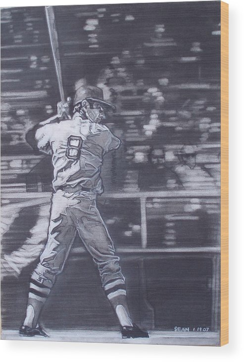 Charcoal On Paper Wood Print featuring the drawing Yaz - Carl Yastrzemski by Sean Connolly