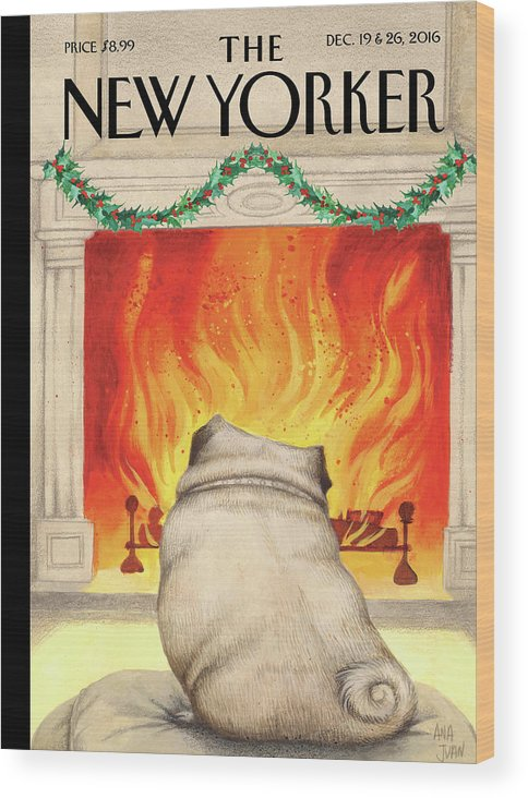 Pug Wood Print featuring the painting Yule Dog by Ana Juan