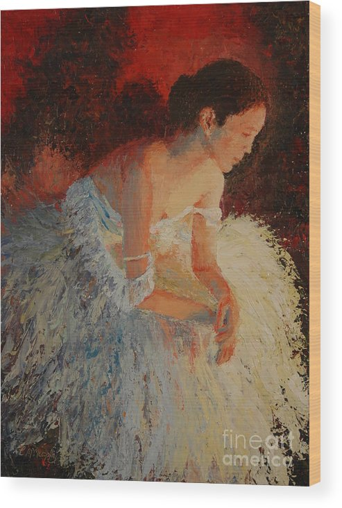 Oil Wood Print featuring the painting Ballerina Pondering by Colleen Murphy