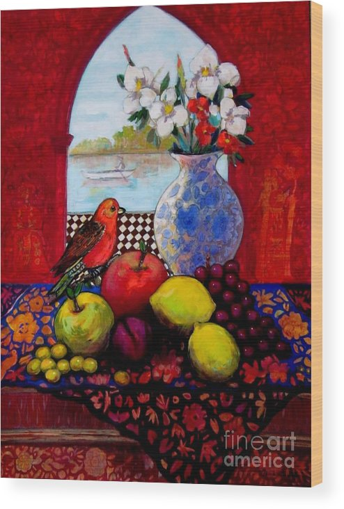 Fruits Wood Print featuring the painting Bird And Stil Life by Marilene Sawaf