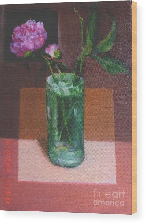 Peony Wood Print featuring the painting Contemporary Floral by Kathleen Hoekstra