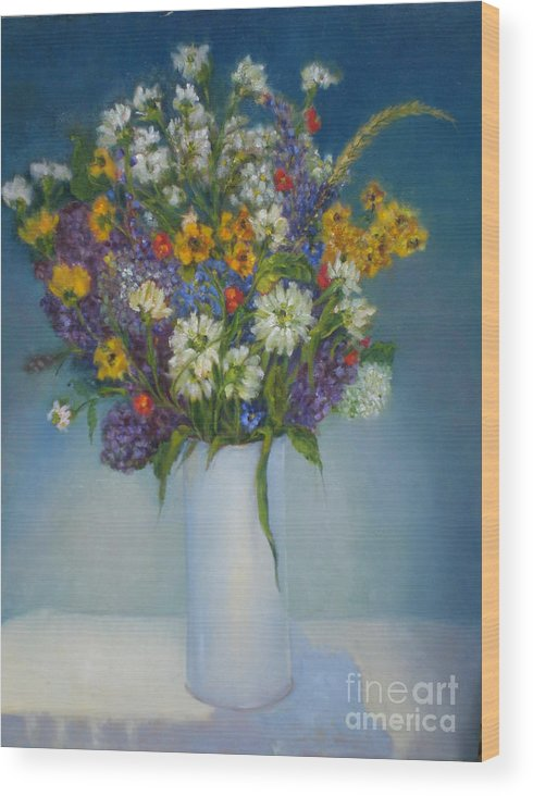 Wildflowers Wood Print featuring the painting Daisies Daisies copyrighted by Kathleen Hoekstra