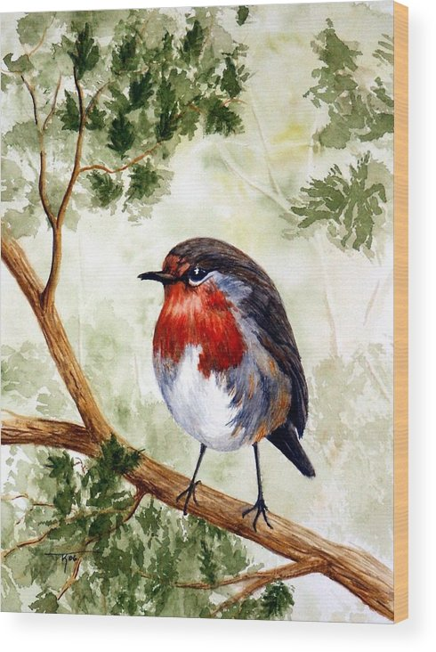 Bird Wood Print featuring the painting English Robin by Travis Kelley