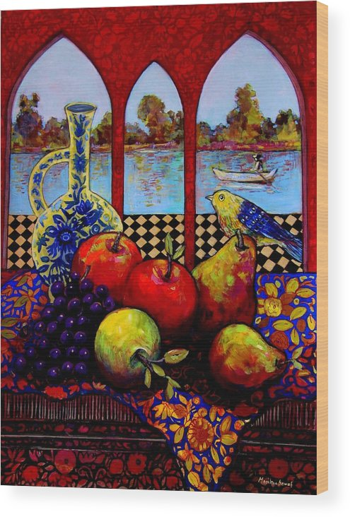 Venice Wood Print featuring the painting Fruits And River by Marilene Sawaf