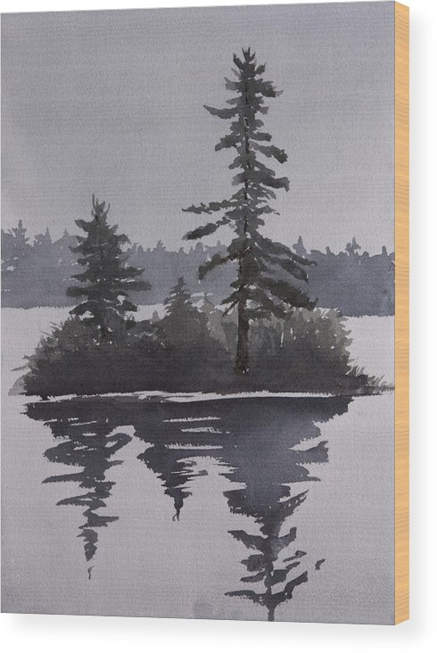 Island Wood Print featuring the painting Island Reflecting in a Lake by Debbie Homewood