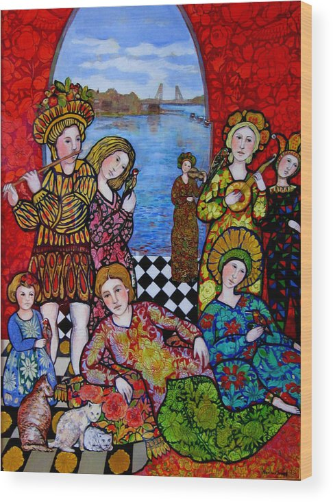 Portsmouth Wood Print featuring the painting Liz and Madeline party in Portsmouth by Marilene Sawaf