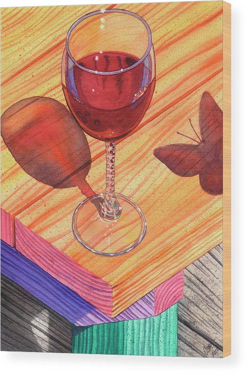 Wine Wood Print featuring the painting Pinot Noir by Catherine G McElroy