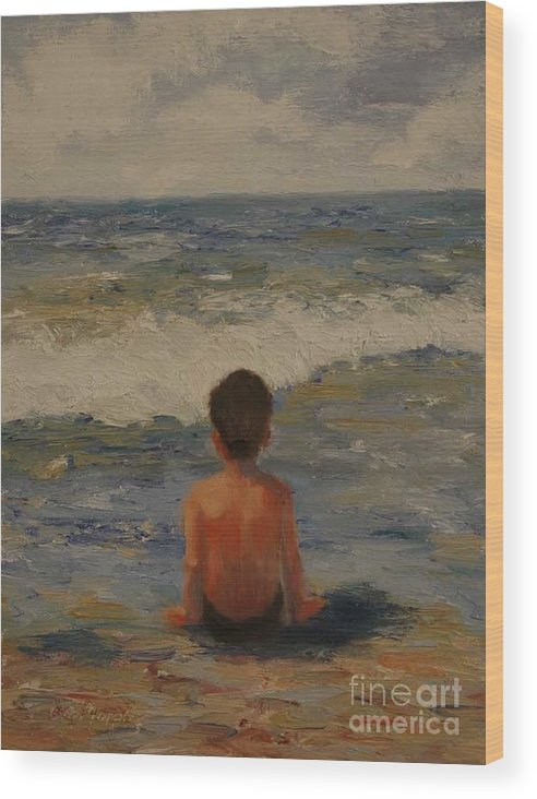 Seascape Wood Print featuring the painting Pondering the Universe by Colleen Murphy