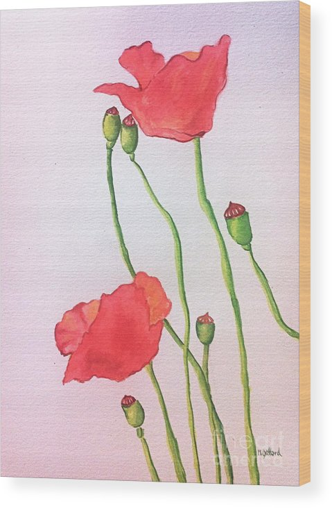 Watercolor Wood Print featuring the painting Poppies by Norma Gafford