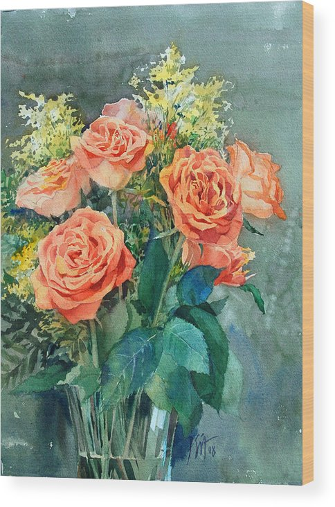 Peter Sit Watercolor Wood Print featuring the painting Red Roses by Peter Sit