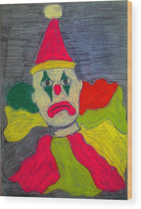 Pastel Wood Print featuring the pastel Sad Clown by Robyn Louisell