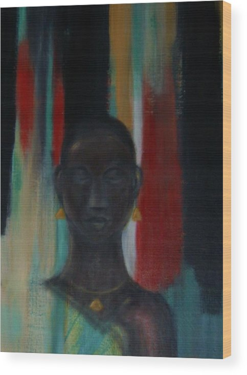 Figure Wood Print featuring the mixed media Young woman by Joseph Ferguson