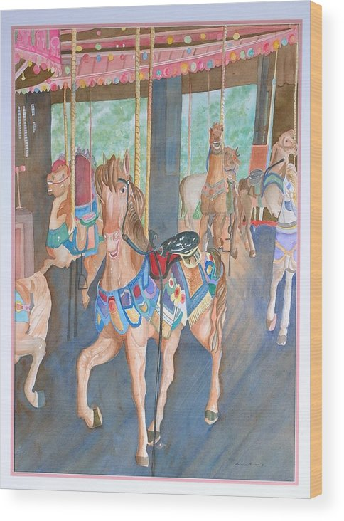 Carousel Wood Print featuring the painting Childhood Memories by Rebecca Marona