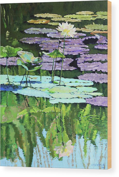 Lotus Wood Print featuring the painting Lotus Reflections by John Lautermilch