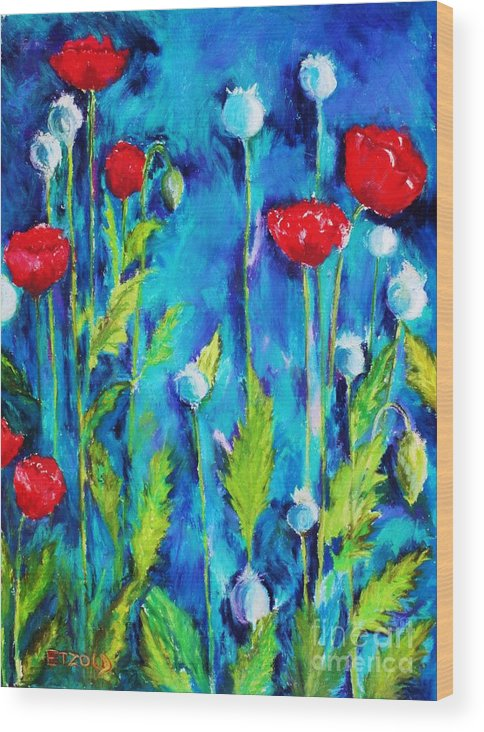 Poppies Wood Print featuring the painting Poppies by Melinda Etzold