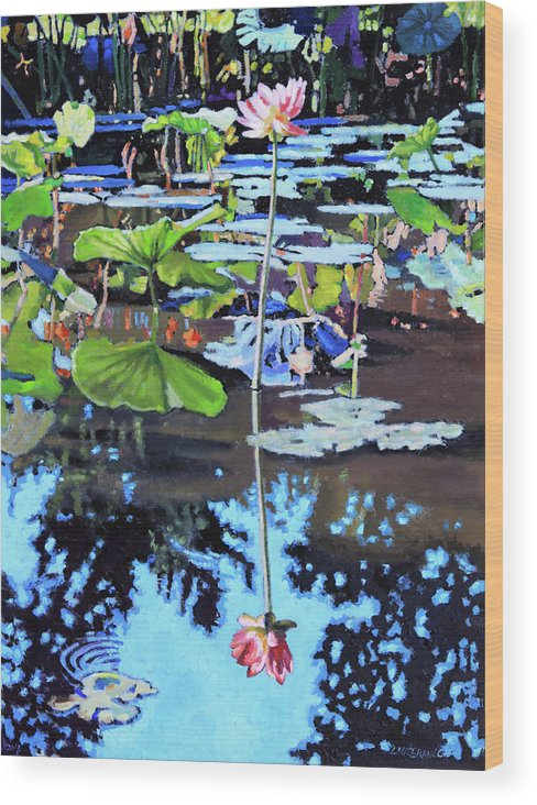 Garden Pond Wood Print featuring the painting Lotus Reflections by John Lautermilch