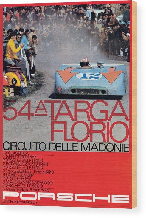 54th Wood Print featuring the digital art 54th Targa Florio Porsche Race Poster by Georgia Fowler