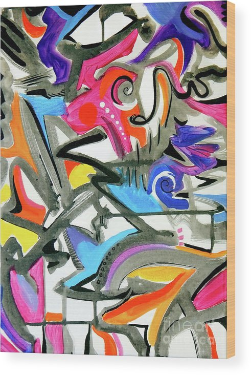 This Feels Like Music To Me .high Energy Vibrant Jazz Maybe .bright Colors Mix With Pastels .gray And Blacklines Add Definition .they Seem To Offer Rythm Wood Print featuring the painting A better mousetrap by Priscilla Batzell Expressionist Art Studio Gallery
