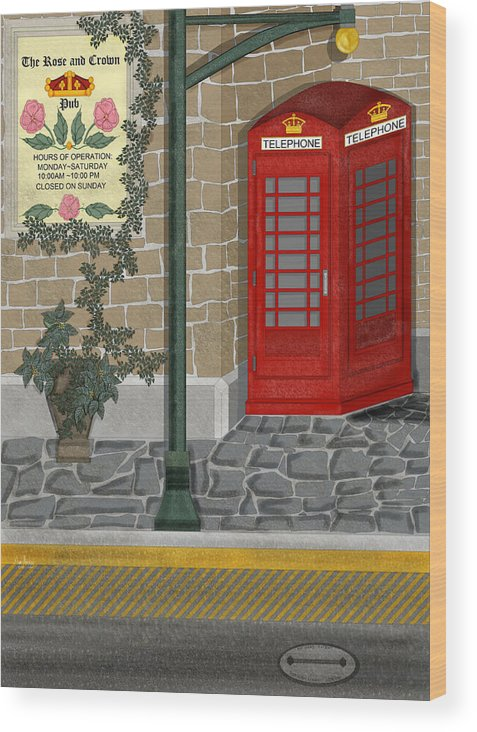 Cityscape Wood Print featuring the painting A Merry Old Corner in London by Anne Norskog