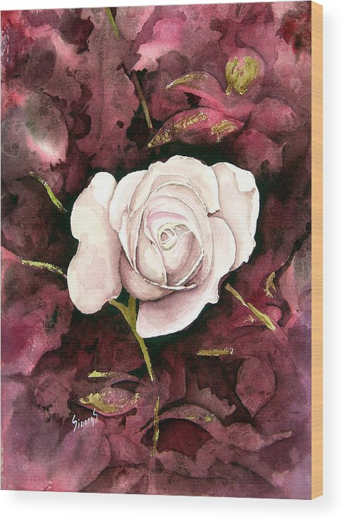 Flower Wood Print featuring the painting A White Rose by Sam Sidders