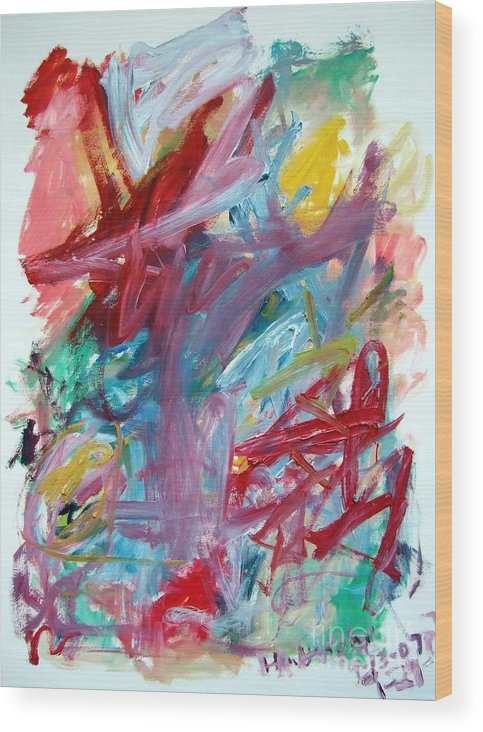 Abstract Wood Print featuring the painting Abstract Composition by Michael Henderson