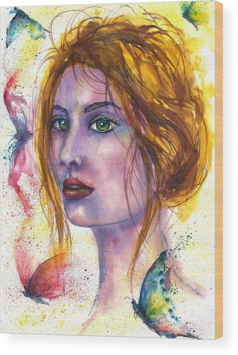 Women Face Wood Print featuring the painting Abstract women face by Natalja Picugina