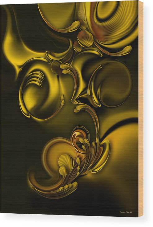 Abstraction Wood Print featuring the digital art Abstraction with Meditation by Carmen Fine Art