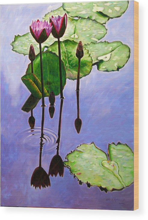 Rose Colored Water Lilies After A Morning Shower With Dark Reflections And Water Ripple. Wood Print featuring the painting After The Shower by John Lautermilch