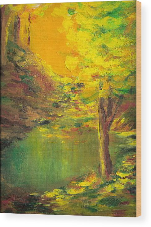Landscape Wood Print featuring the painting Aldergrove Lake by Vi Mosley