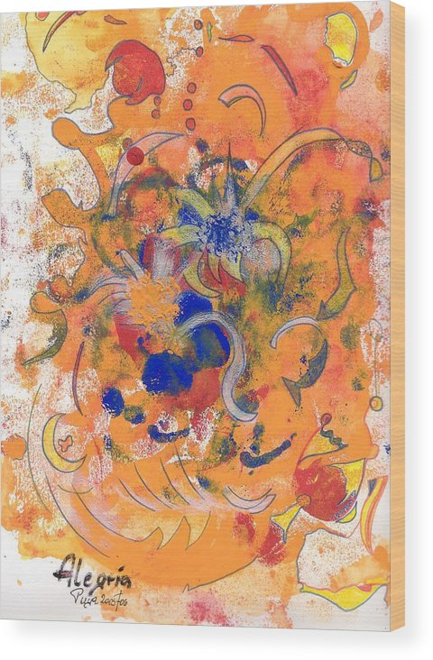 Alegria Wood Print featuring the mixed media Alegria by Michael Puya