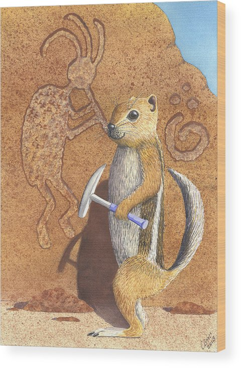 Kokopeli Wood Print featuring the painting And you thought it was the Anasazi by Catherine G McElroy